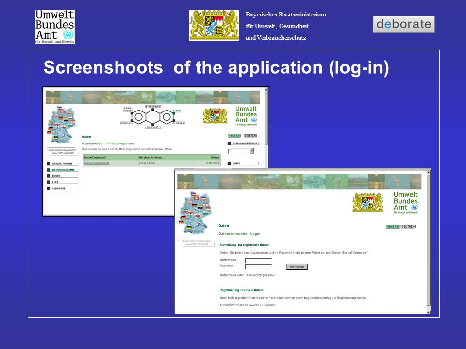 Screenshoots of the application (log-in)