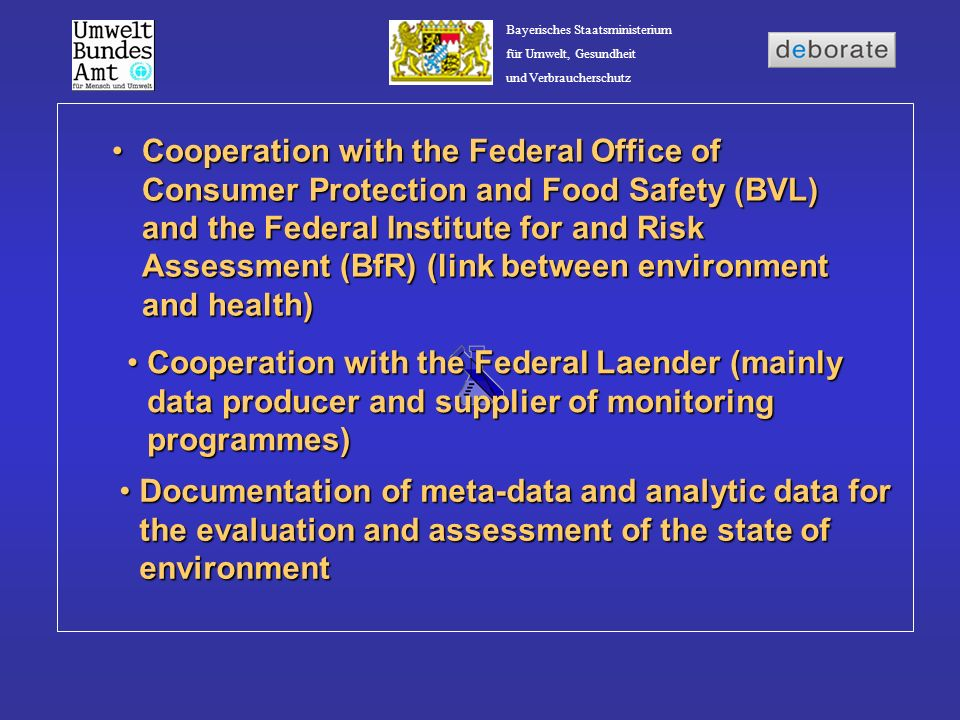 Cooperation with the Federal Office of Consumer Protection and Food Safety (BVL) and the Federal Institute for and Risk Assessment (BfR) (link between environment and health)