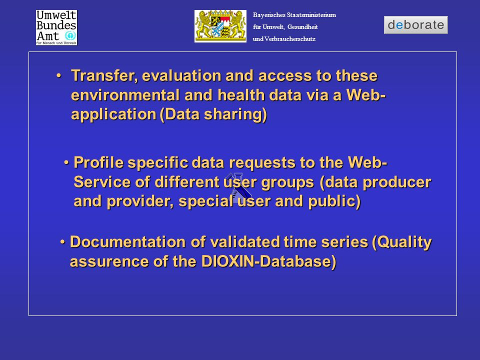 Transfer, evaluation and access to these environmental and health data via a Web-application (Data sharing)