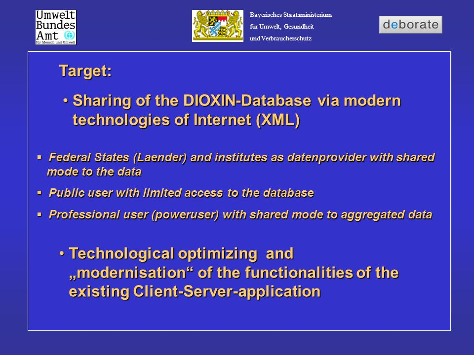 Target: Sharing of the DIOXIN-Database via modern technologies of Internet (XML)