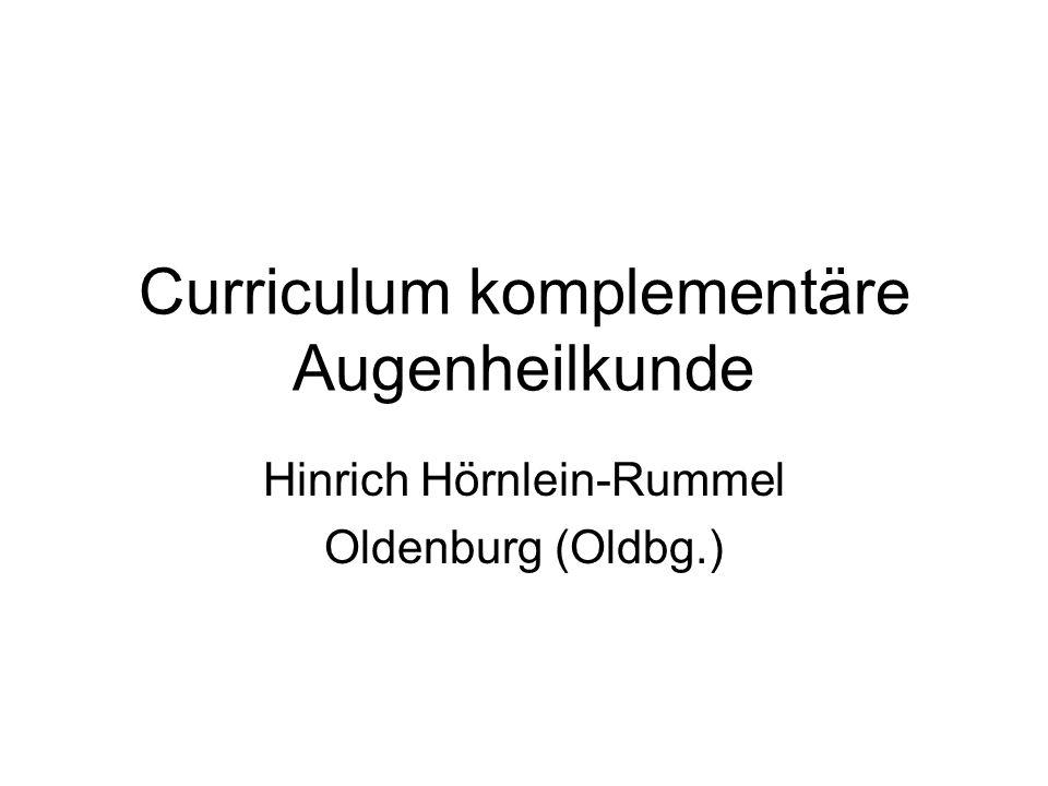 Curriculum komplementäre Augenheilkunde