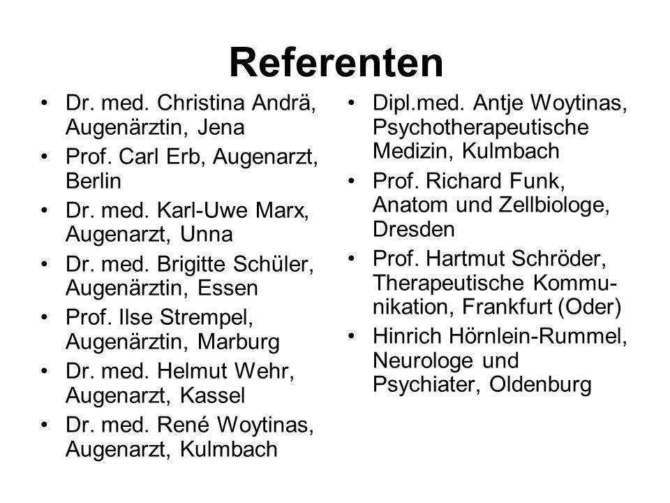 Referenten Dr. med. Christina Andrä, Augenärztin, Jena
