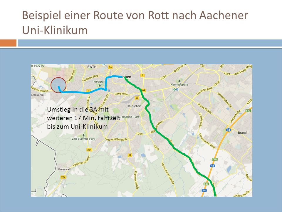 Beispiel einer Route von Rott nach Aachener Uni-Klinikum