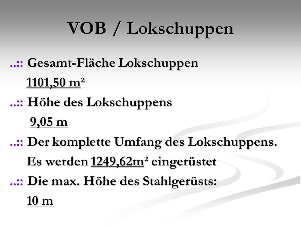 VOB / Lokschuppen ..:: Gesamt-Fläche Lokschuppen 1101,50 m²