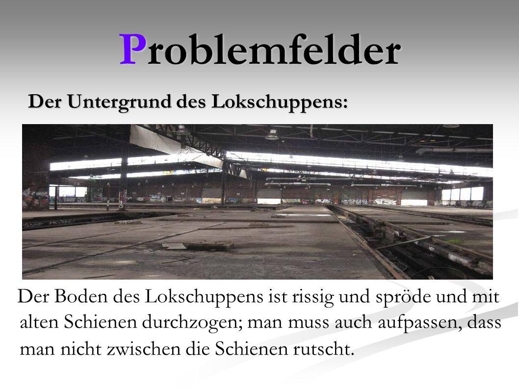 Problemfelder Der Untergrund des Lokschuppens:
