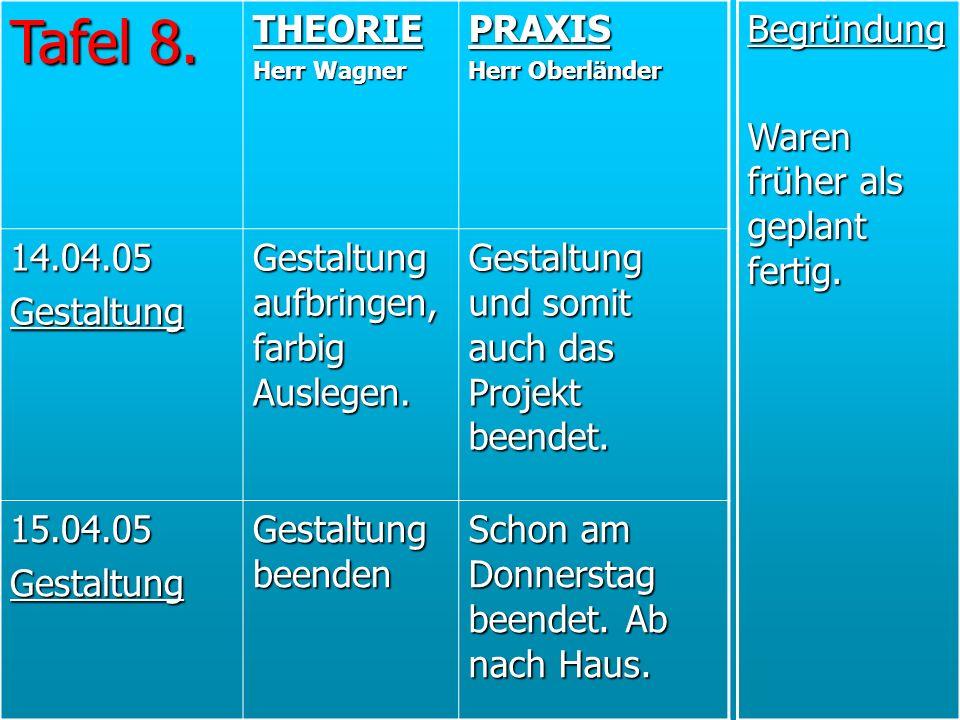 Tafel 8. THEORIE PRAXIS 14.04.05 Gestaltung