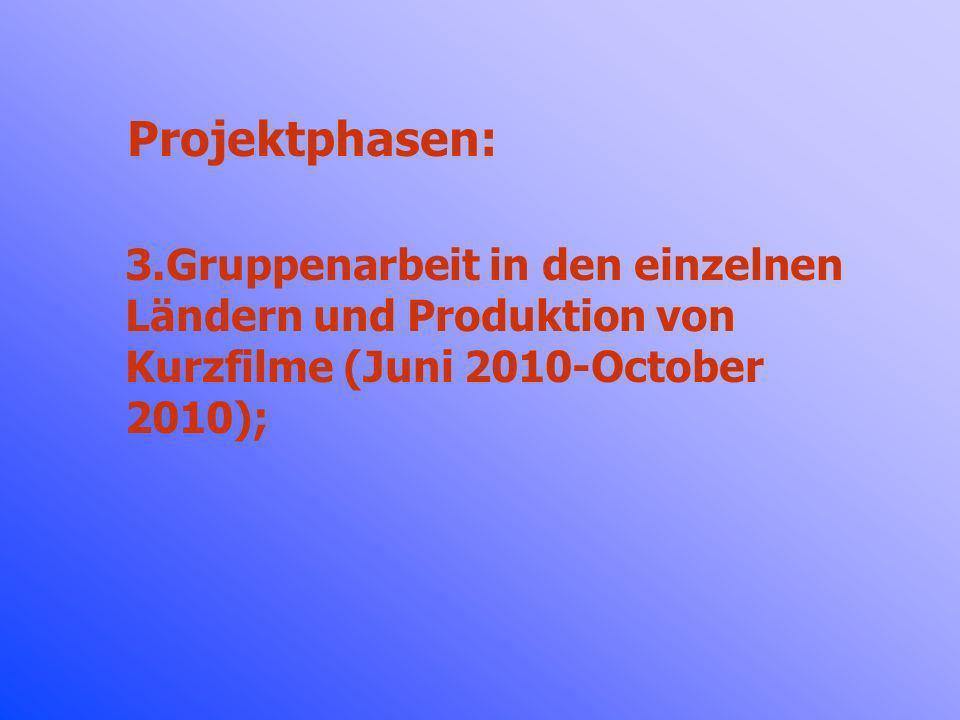 Projektphasen: Gruppenarbeit in den einzelnen Ländern und Produktion von Kurzfilme (Juni 2010-October 2010);