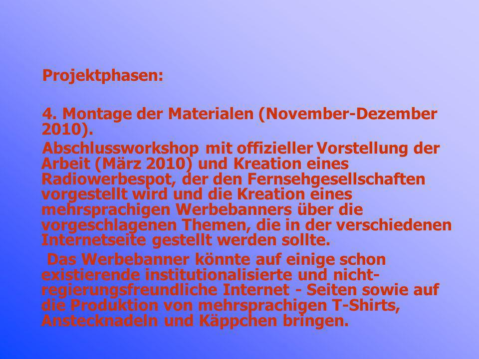 Projektphasen: 4. Montage der Materialen (November-Dezember 2010).