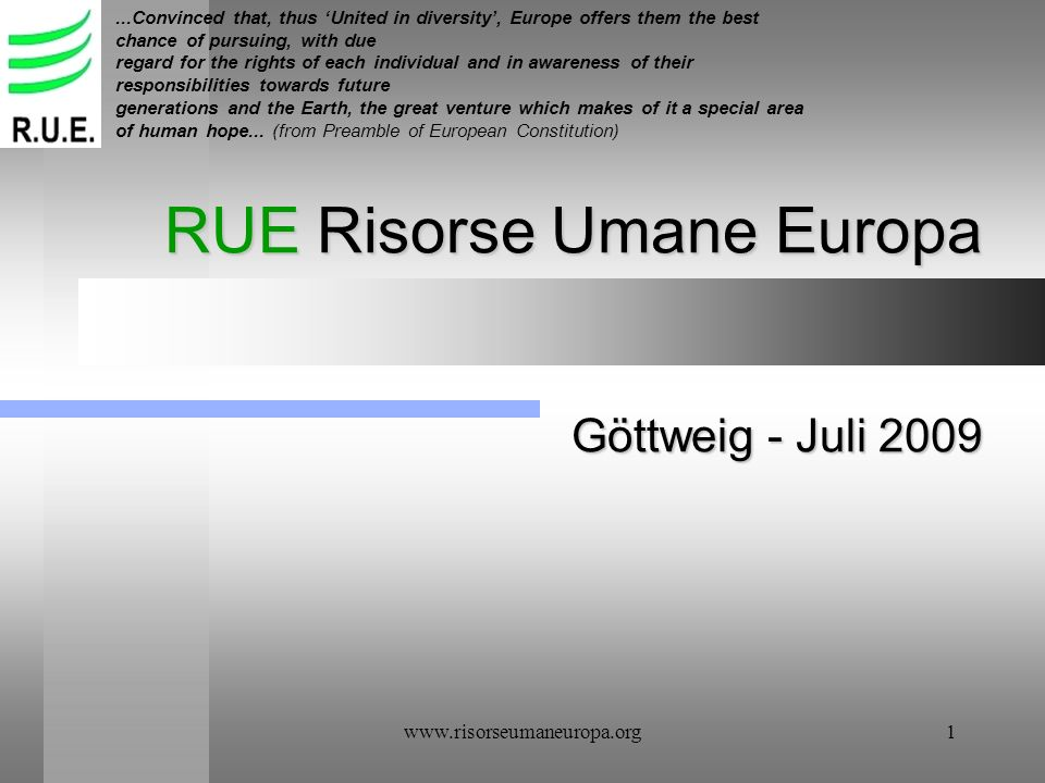 RUE Risorse Umane Europa Göttweig - Juli 2009