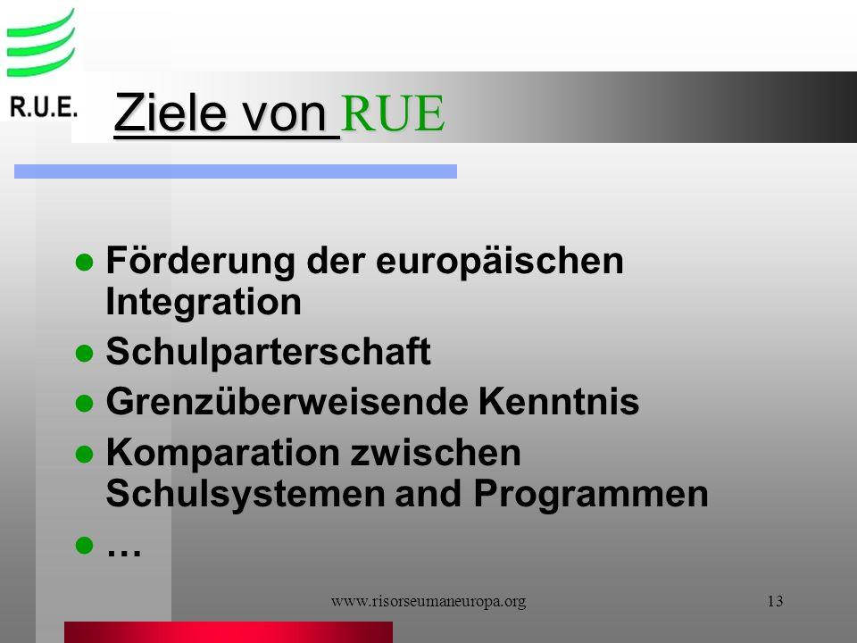 Ziele von RUE Förderung der europäischen Integration Schulparterschaft