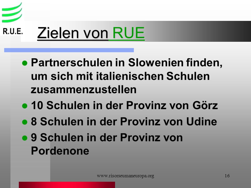 Zielen von RUE Partnerschulen in Slowenien finden, um sich mit italienischen Schulen zusammenzustellen.
