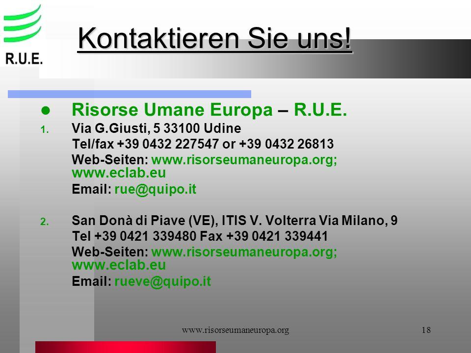 Kontaktieren Sie uns! Risorse Umane Europa – R.U.E.