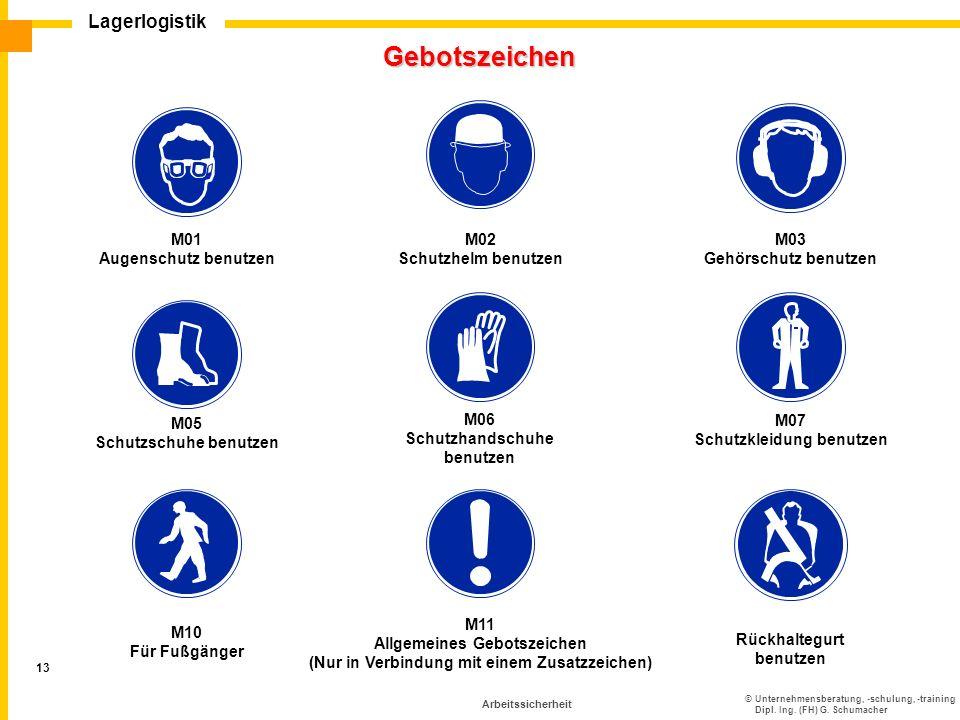 Gebotszeichen M01 Augenschutz benutzen M02 Schutzhelm benutzen M03