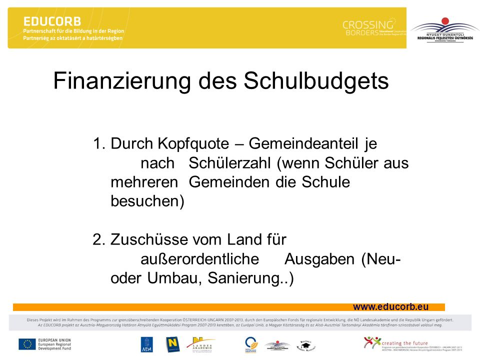 Finanzierung des Schulbudgets