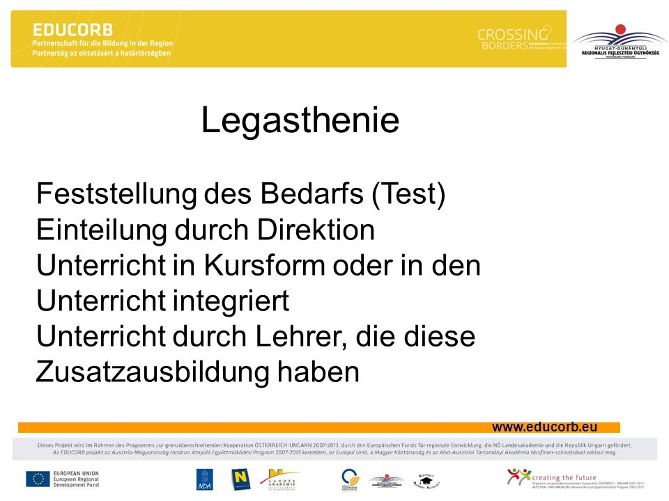 Legasthenie Feststellung des Bedarfs (Test) Einteilung durch Direktion