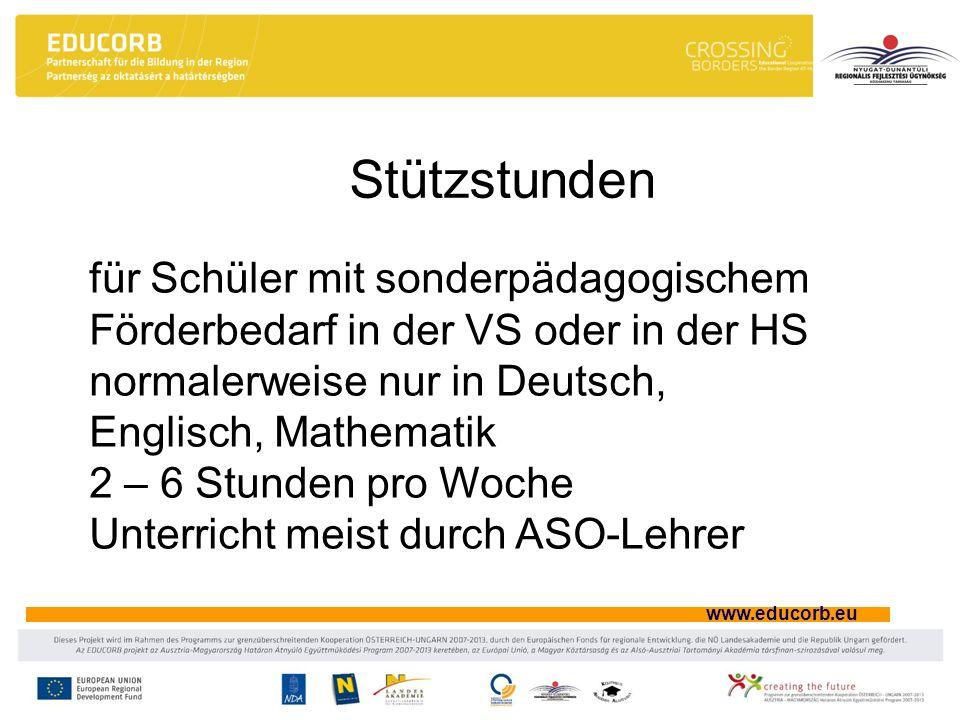 Stützstunden für Schüler mit sonderpädagogischem Förderbedarf in der VS oder in der HS. normalerweise nur in Deutsch, Englisch, Mathematik.