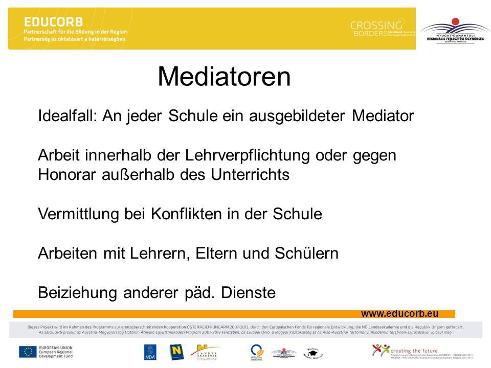 Mediatoren Idealfall: An jeder Schule ein ausgebildeter Mediator