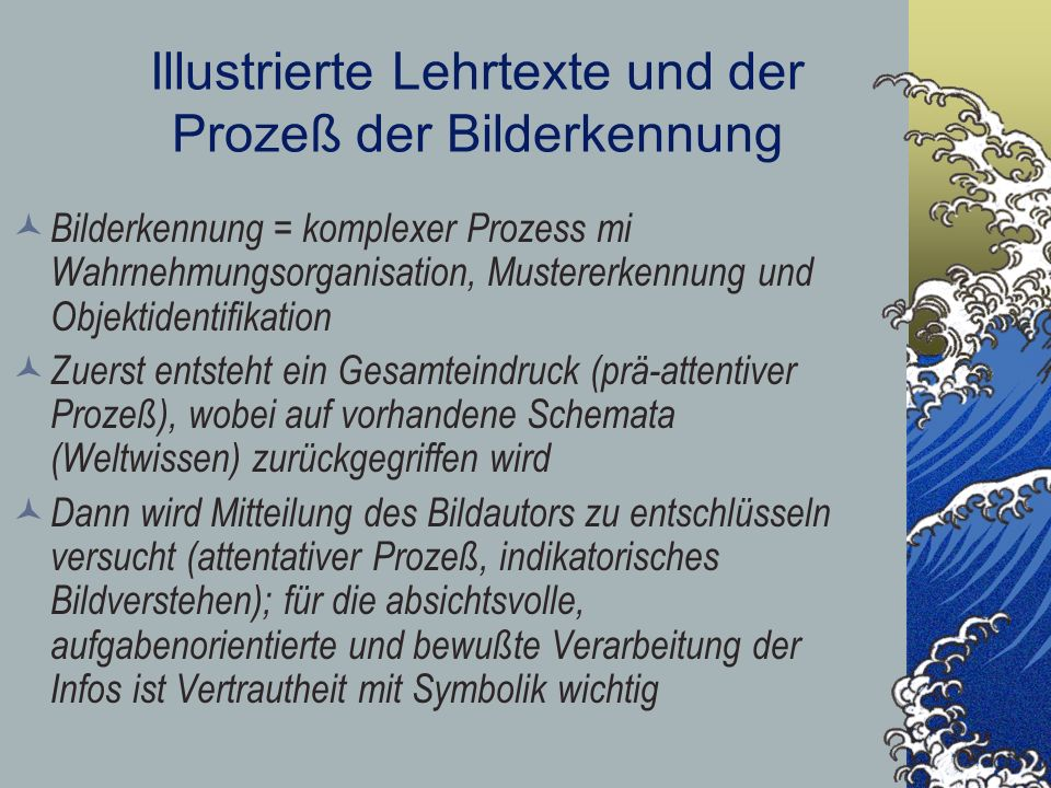 Illustrierte Lehrtexte und der Prozeß der Bilderkennung