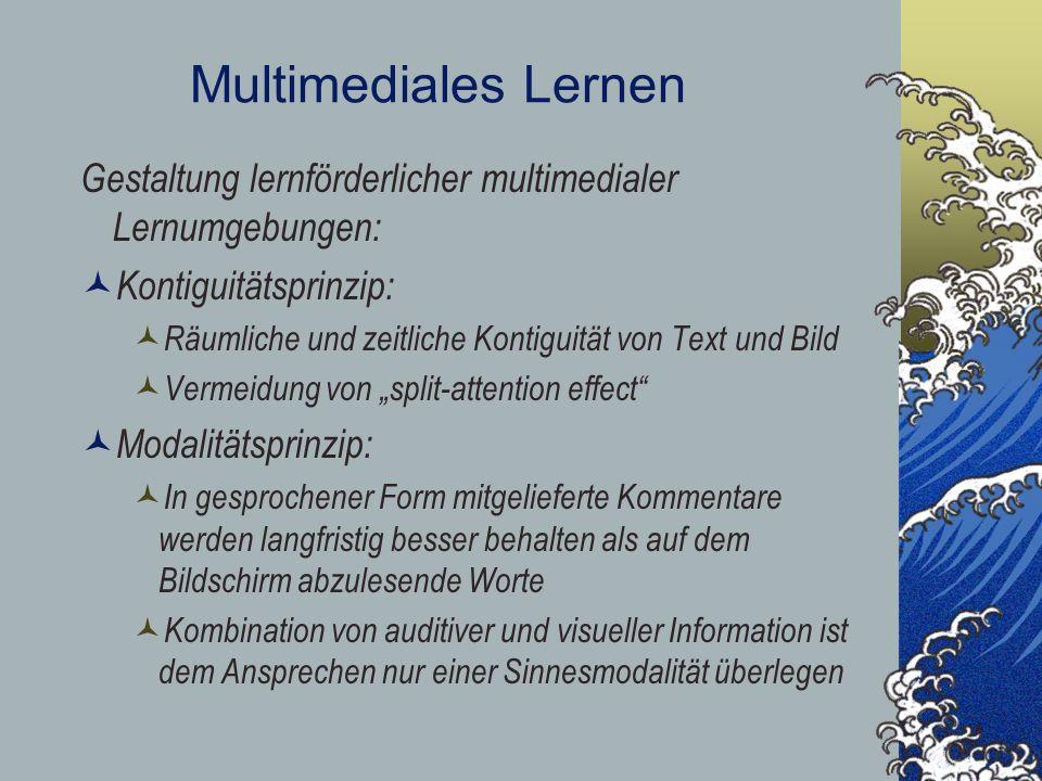 Multimediales Lernen Gestaltung lernförderlicher multimedialer Lernumgebungen: Kontiguitätsprinzip: