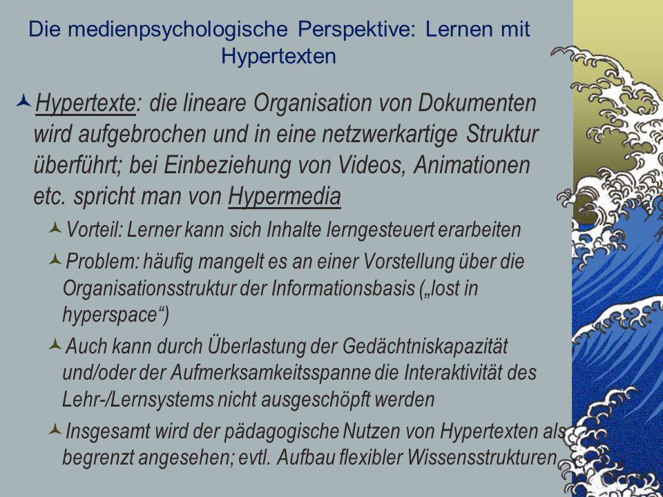 Die medienpsychologische Perspektive: Lernen mit Hypertexten