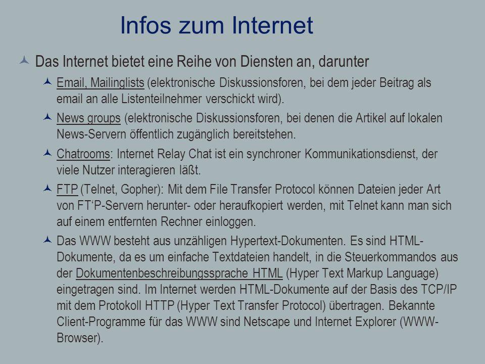 Infos zum Internet Das Internet bietet eine Reihe von Diensten an, darunter.