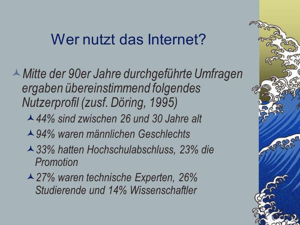 Wer nutzt das Internet Mitte der 90er Jahre durchgeführte Umfragen ergaben übereinstimmend folgendes Nutzerprofil (zusf. Döring, 1995)