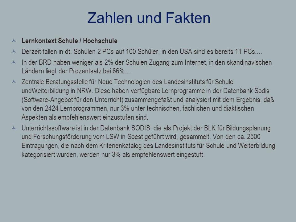 Zahlen und Fakten Lernkontext Schule / Hochschule