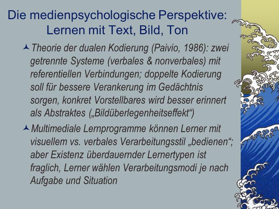 Die medienpsychologische Perspektive: Lernen mit Text, Bild, Ton