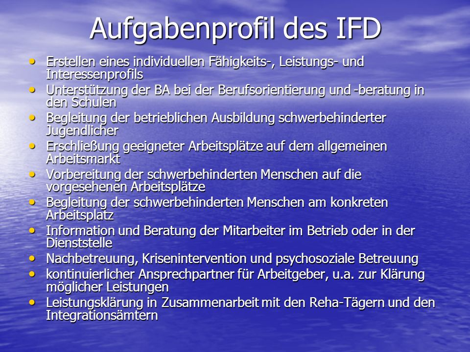 Aufgabenprofil des IFD