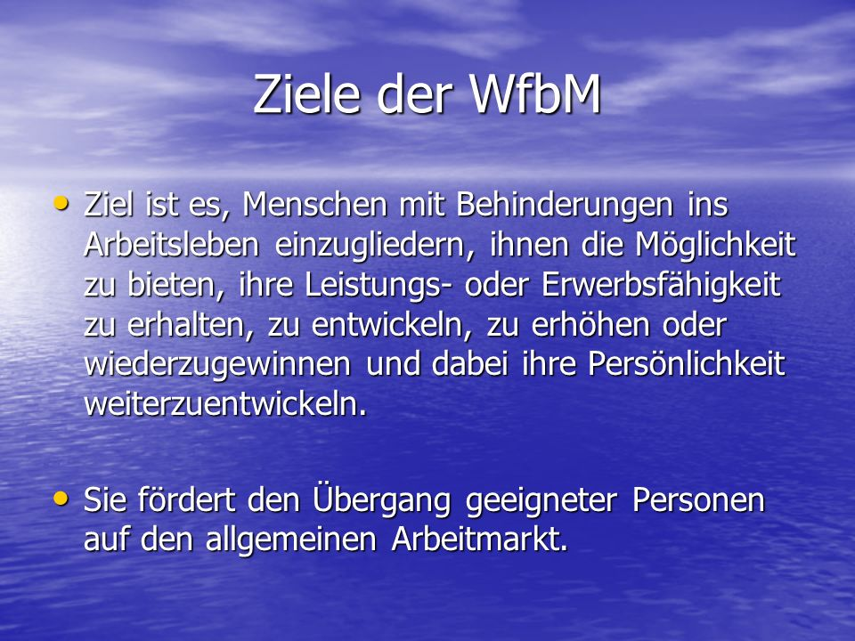 Ziele der WfbM