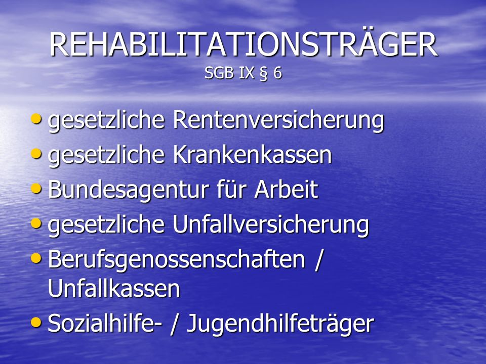 REHABILITATIONSTRÄGER SGB IX § 6