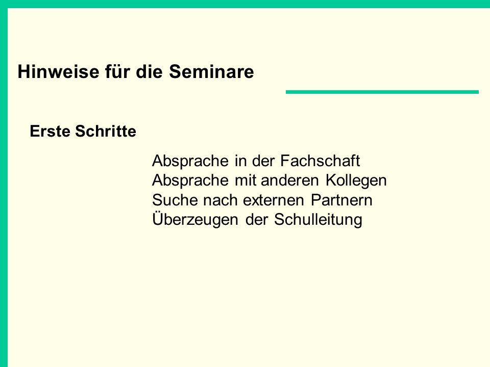 Hinweise für die Seminare