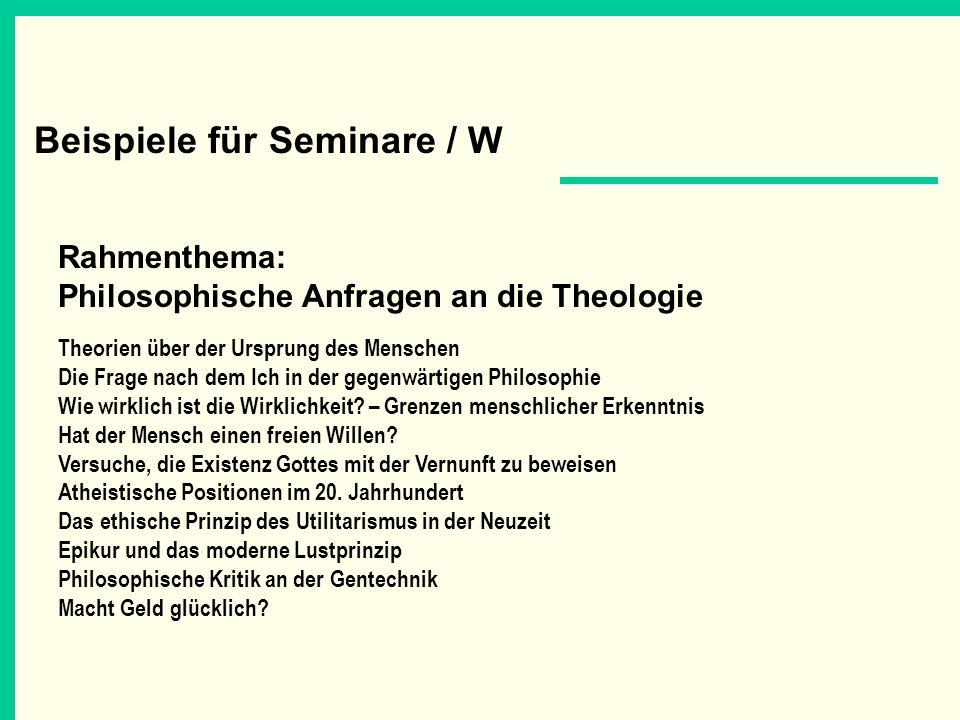 Beispiele für Seminare / W