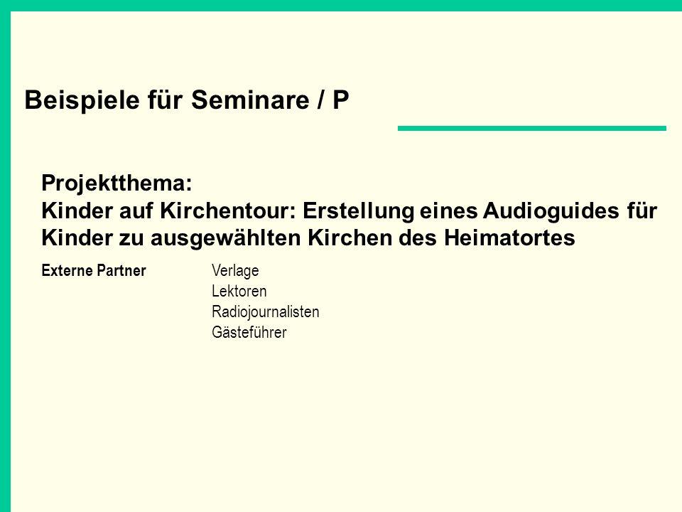 Beispiele für Seminare / P