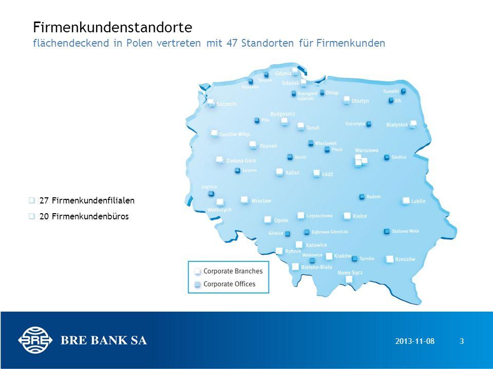 Firmenkundenstandorte flächendeckend in Polen vertreten mit 47 Standorten für Firmenkunden