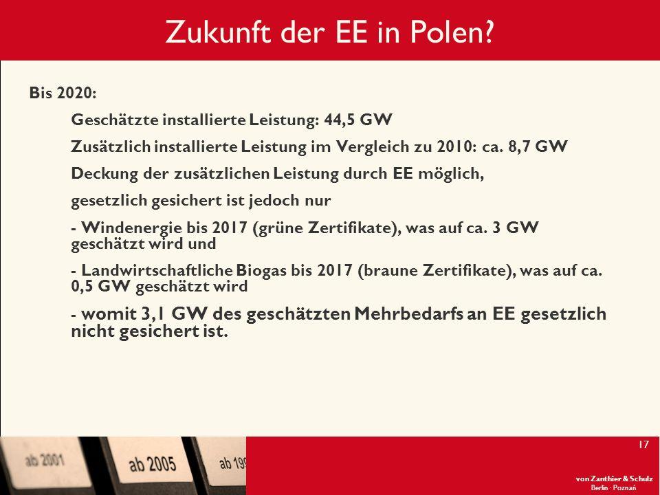Zukunft der EE in Polen Bis 2020: