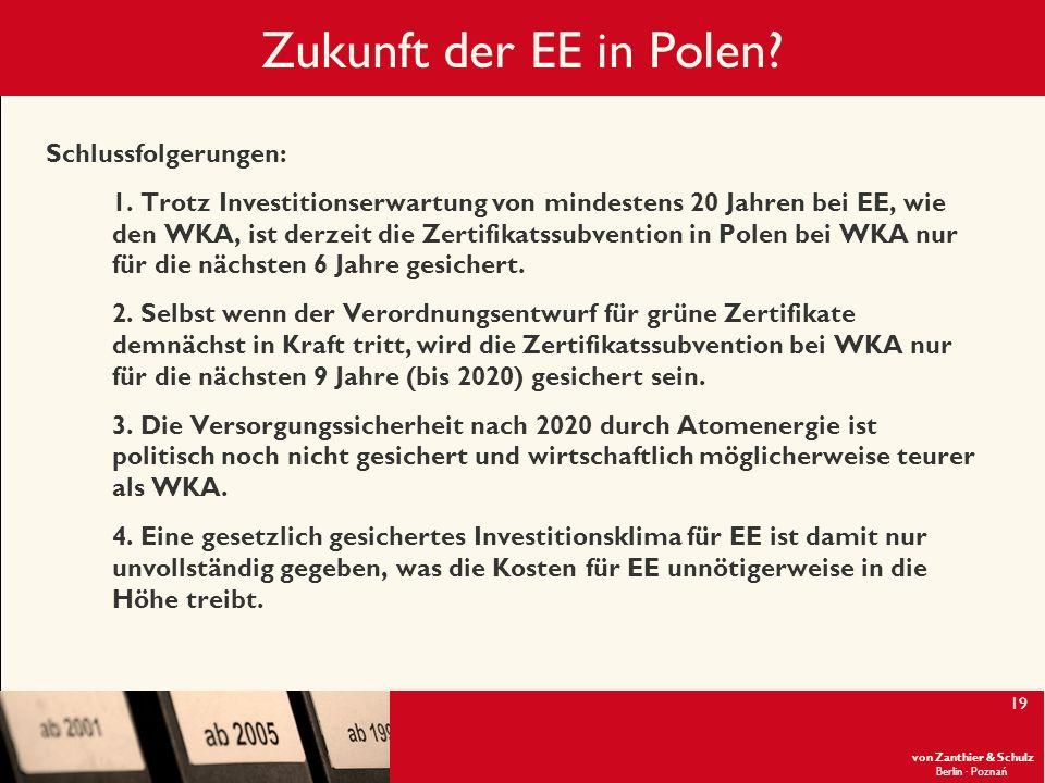 Zukunft der EE in Polen Schlussfolgerungen: