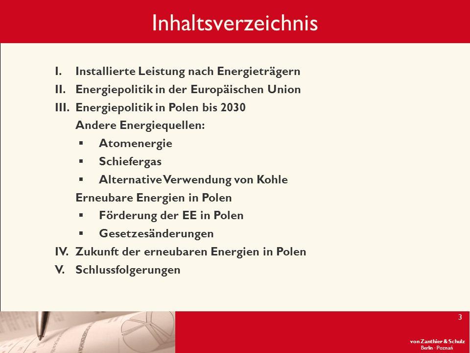 Inhaltsverzeichnis Installierte Leistung nach Energieträgern