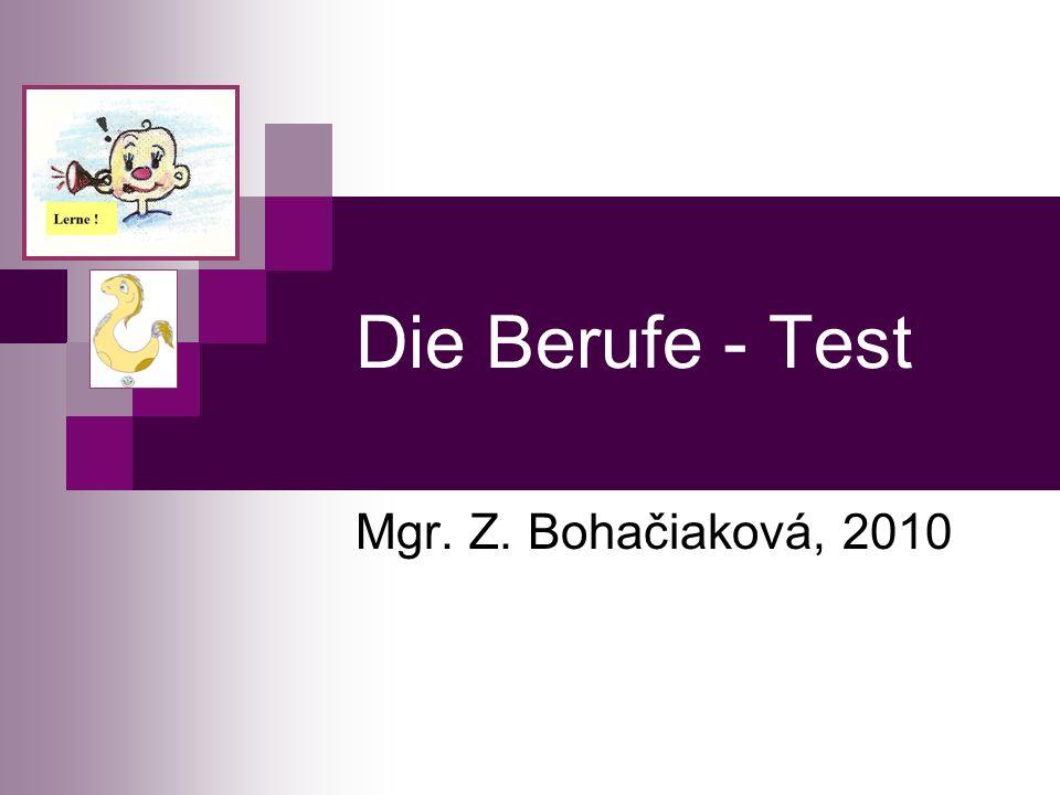 Die Berufe - Test Mgr. Z. Bohačiaková, 2010
