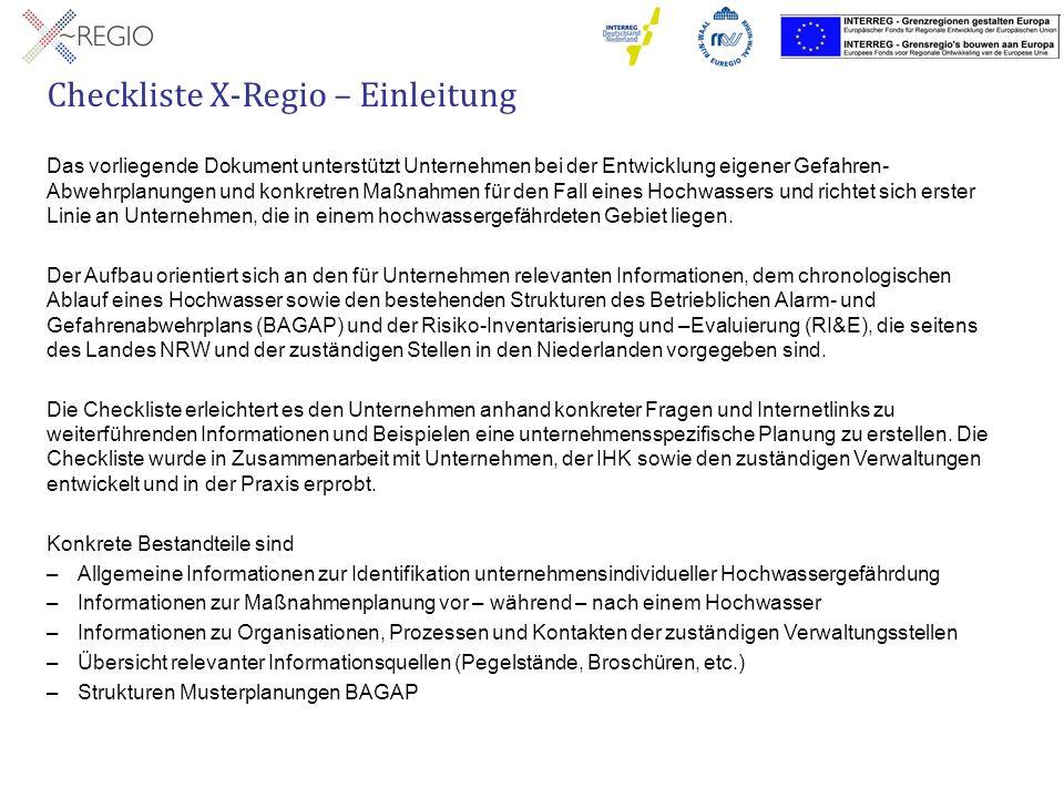 Checkliste X-Regio – Einleitung