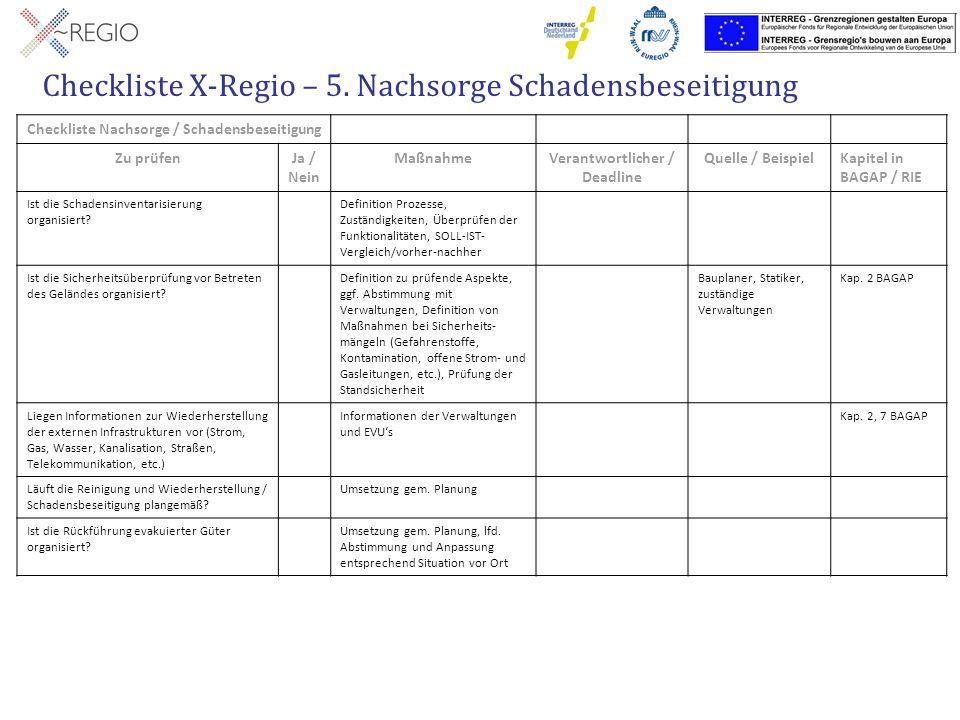 Checkliste X-Regio – 5. Nachsorge Schadensbeseitigung