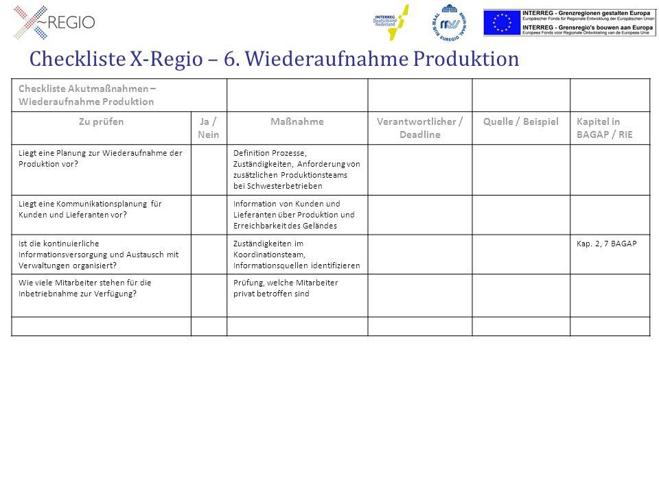 Checkliste X-Regio – 6. Wiederaufnahme Produktion
