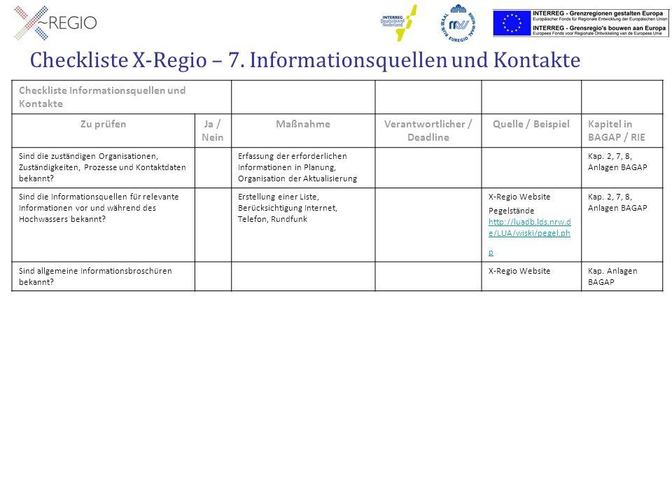 Checkliste X-Regio – 7. Informationsquellen und Kontakte