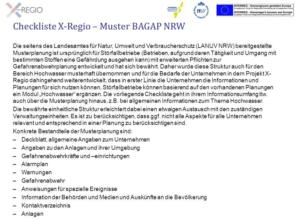 Checkliste X-Regio – Muster BAGAP NRW