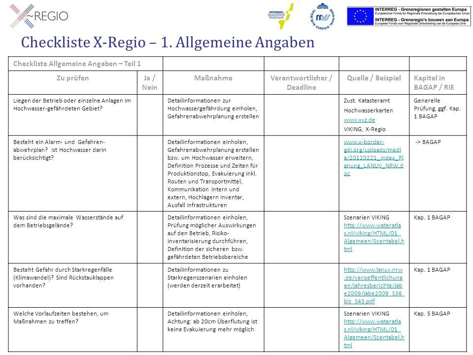 Checkliste X-Regio – 1. Allgemeine Angaben