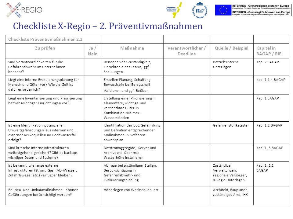 Checkliste X-Regio – 2. Präventivmaßnahmen