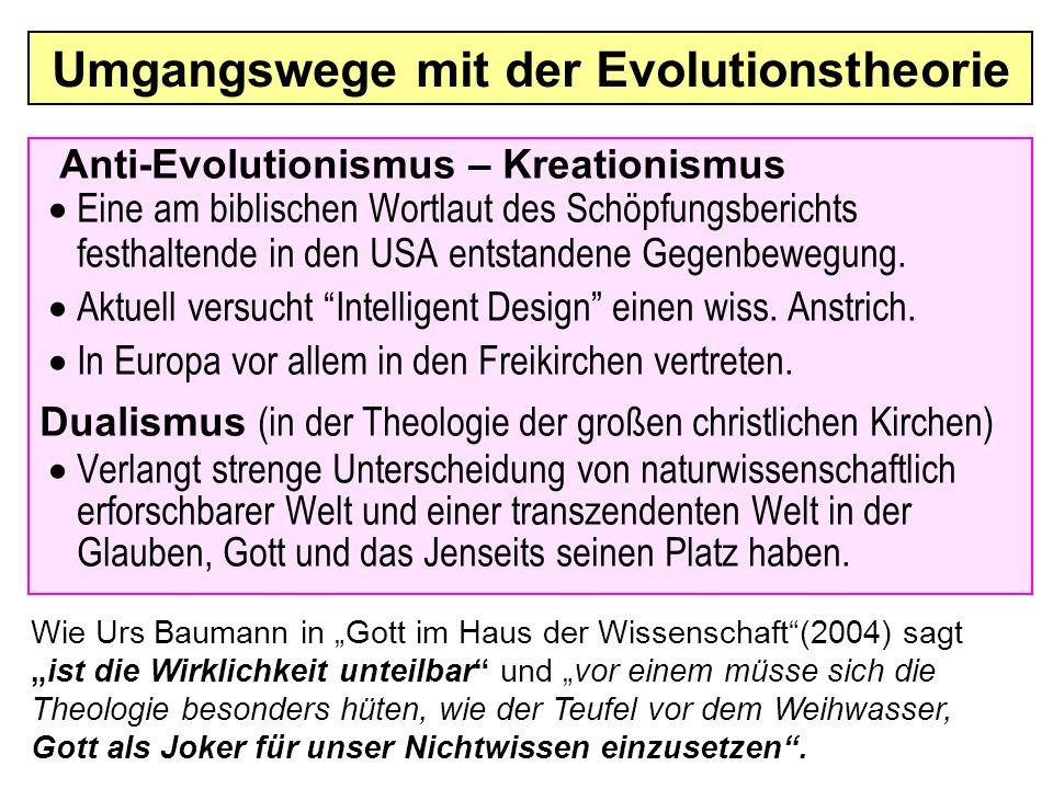 Umgangswege mit der Evolutionstheorie
