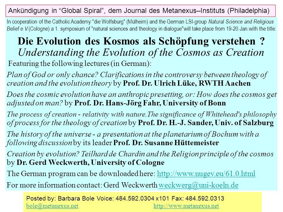 Die Evolution des Kosmos als Schöpfung verstehen