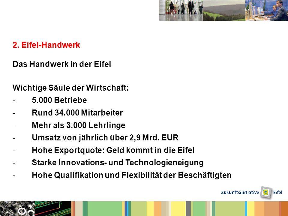 2. Eifel-Handwerk Das Handwerk in der Eifel. Wichtige Säule der Wirtschaft: 5.000 Betriebe. Rund 34.000 Mitarbeiter.