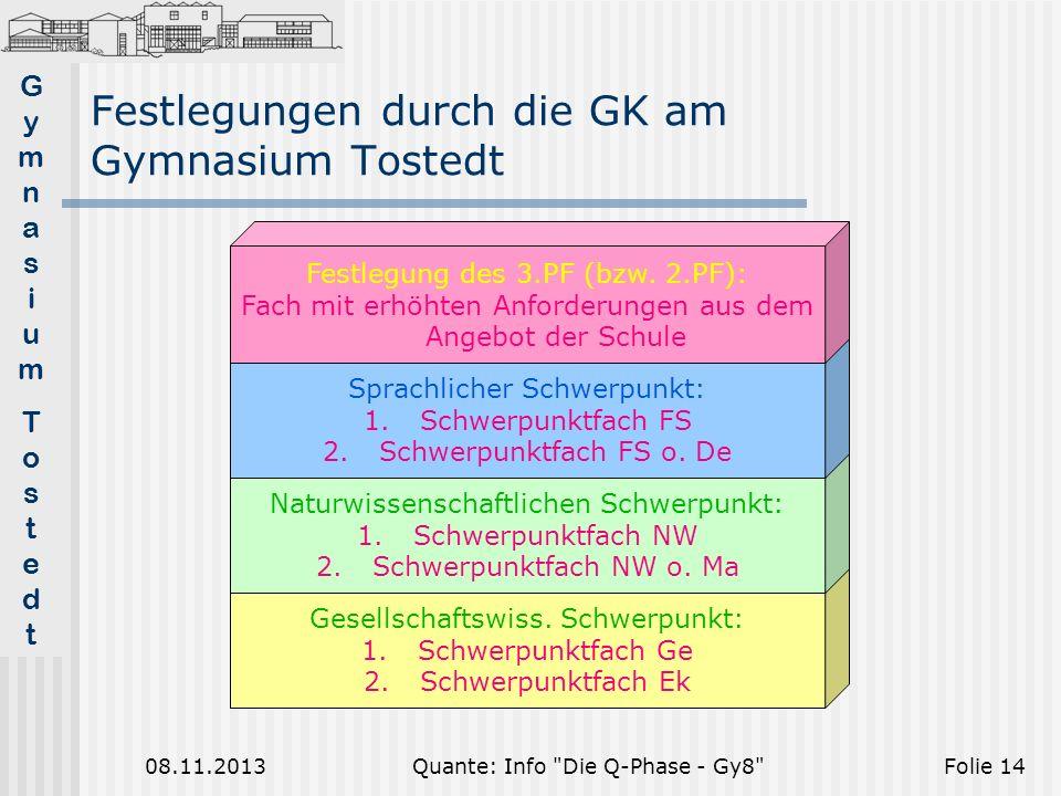 Festlegungen durch die GK am Gymnasium Tostedt